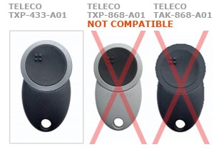 Remote TELECO TXP-433-A01 with 1 buttons