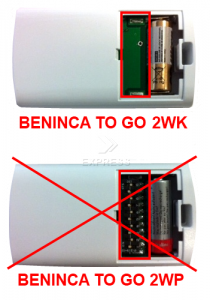 Telecommande BENINCA TO GO 2WK a 2 boutons