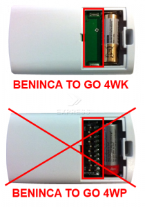 Telecommande BENINCA TO GO 4WK a 4 boutons