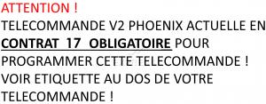 Telecommande V2 PHOENIX CONTRAT 17 4CH a 4 boutons