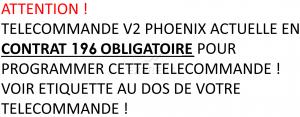 Telecommande V2 PHOENIX CONTRAT 196 a 4 boutons