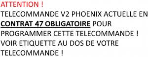 Telecommande V2 PHOENIX CONTRAT 47 4CH a 4 boutons