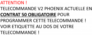 Telecommande V2 PHOENIX CONTRAT 50 a 4 boutons