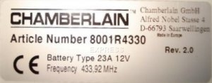 Telecommande CHAMBERLAIN RA4330 a 2 boutons