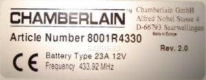 Telecommande_abbrégé CHAMBERLAIN RA4330 a 2 boutons