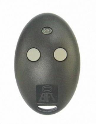 Télécommande BFT MITTO 2M ovale et noire, qui remplace de nombreux modèles de télécommande